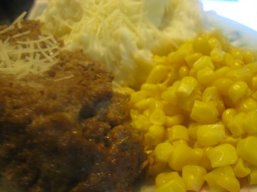 Meatloaf, Mashed Potatoes, and Steamfresh Corn