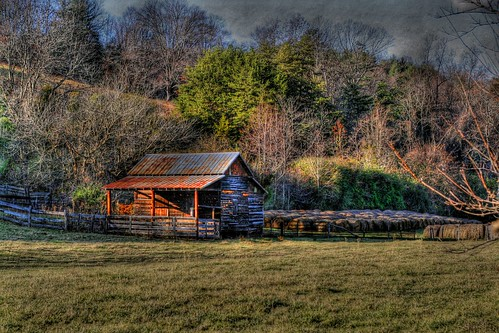 Outbuilding and Hay bales