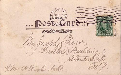 1907 Postacard to Joe Lehrer