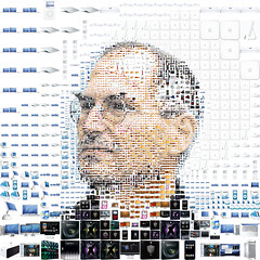 Steve Jobs y sus creaciones en un collage.