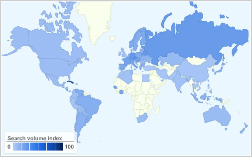 Debian popularity map