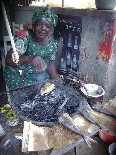 Fish mama Rose grills her goodies.