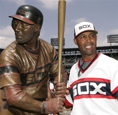 Harold Baines in bronze and the flesh by Rich pix.