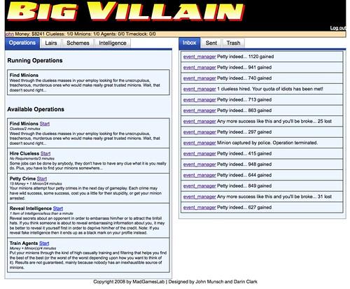 Big Villain Control Panel