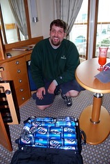 CSP unloads his beer into the beverage cooler in our stateroom