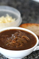 Onion Leek Shallot Soup assembling