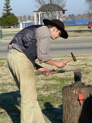 Living History Day - Blacksmith Hammered Leaf