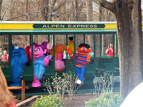 the characters arriving by train!