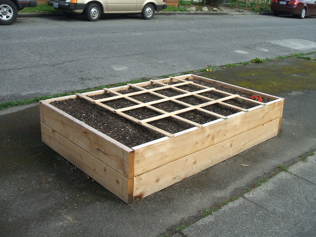 """Square Foot Gardening"" raised bed on concrete"