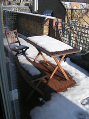 Snow on our balcony in London, February 4, 2009