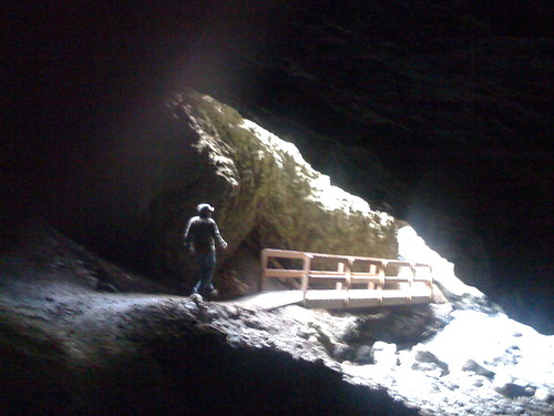 T exiting cave by you.