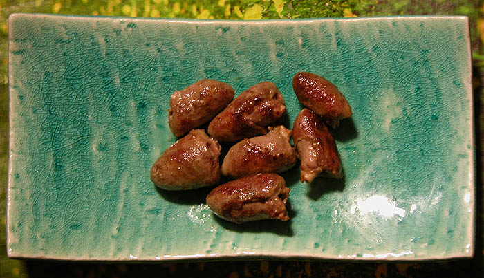 Seven delicious chicken hearts
