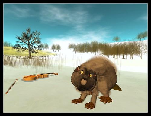 Beaver finds a violin