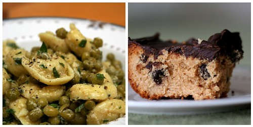 Tortellini & Green Pea Salad + Chocolate Peanut Butter Blondies
