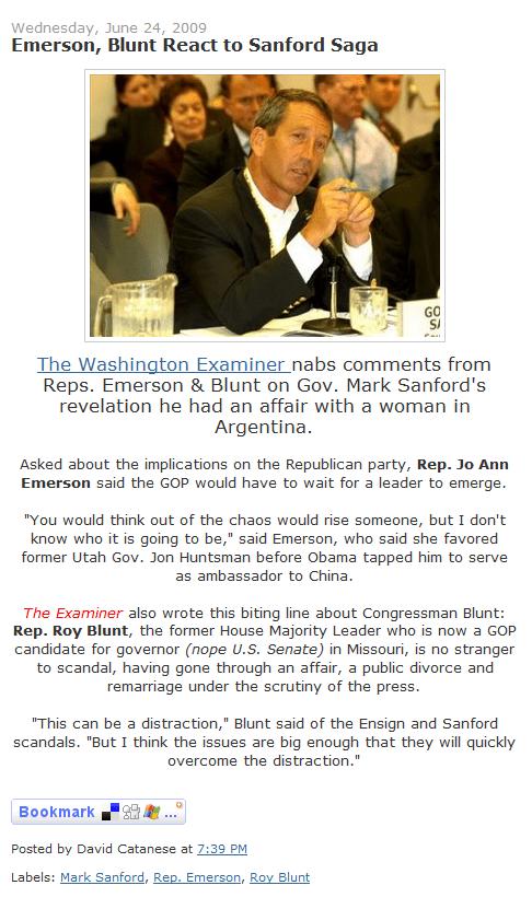 Roy Blunt (r) speaks: Washington Examiner story on Mark