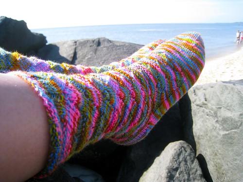sock at the beach