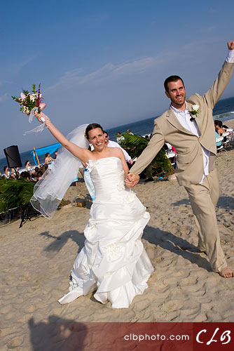 Jess & Kenny exit their ceremony, at Seven Presidents Beach, Long Branch, NJ