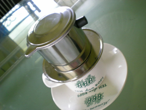 Brewing Vietnamese coffee