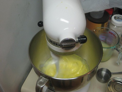Whisk the egg yolks until thick and pale
