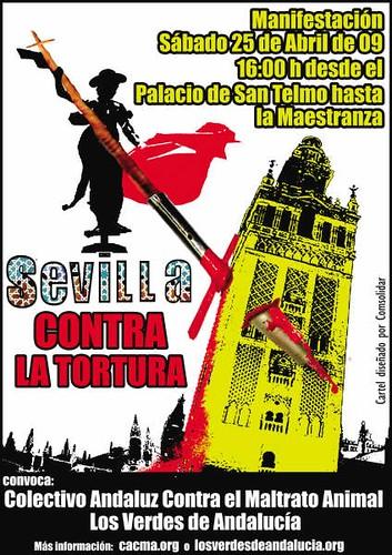 Manifestación por la Abolición de la tauromaquia en Sevilla.