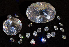 Assorted cubic zirconias glittering in the sun