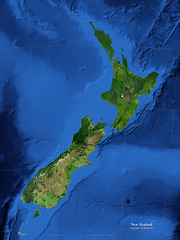 Satellite Map of New Zealand: Topography and Bathymetry