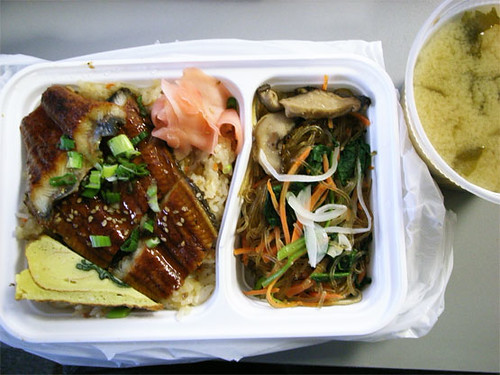 Eel over rice w/ japchae and soup