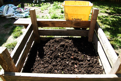 The new garden. 4X4 raised bed. Compost/top soil/potting soil base.