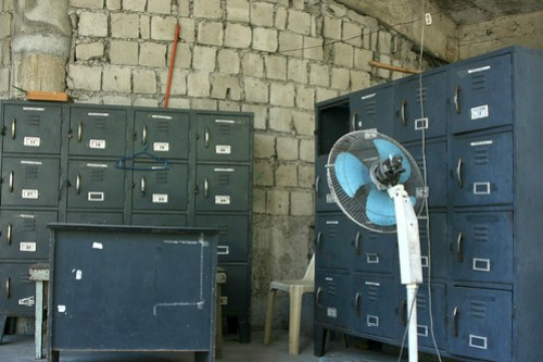 filing cabinets and electric fan