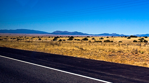 The Sandia Mountains, as seen from I-40. These mountains border northern Albuquerque.