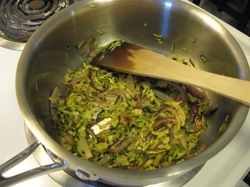 Spread Slaw Out So Zucchini Can Brown