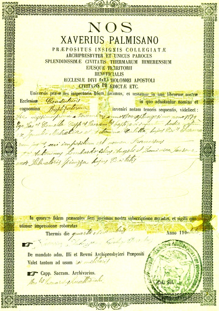 Birth Certificate-Francesco Mat[r]acia