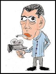 Luis Buñuel caricature-like ilustración