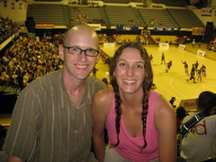 Carrie and I at the Harlem Globetrotters game in Kuala Lumpur