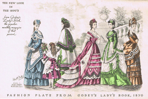 A 19th century vignette: Well-dressed women