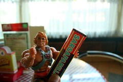 Oh, old candy!!! Heman remembers sharing pack of candy with man at arms... Fools said taste of sugar reminds him of modulok heman likes!!