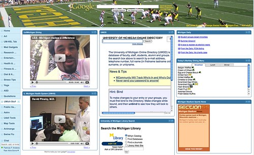 iGoogle Tab: University of Michigan