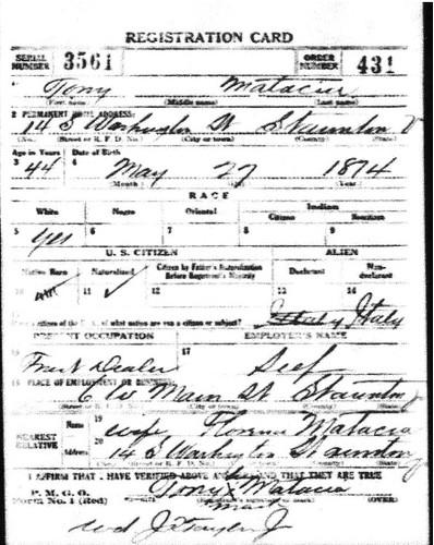 Tony Matacia's WW I Draft Registration