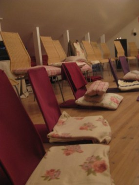 Our meditation room...with blankets, pillows, back rests