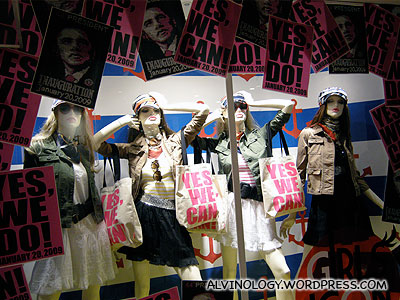The Japanese seems to be crazy about Barack Obama - Yes we can posters are everywhere