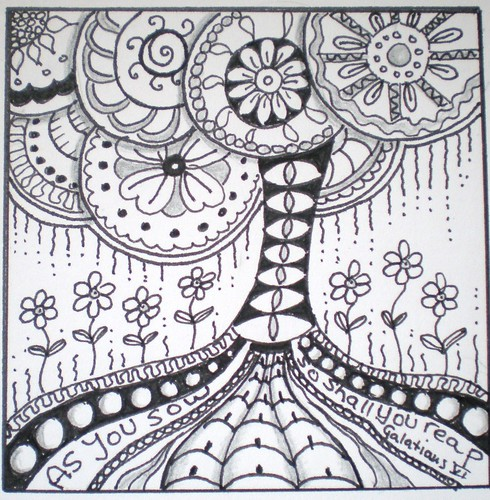 tree zentangle colouring pages