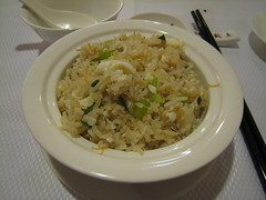 Individual rice grains fully flavoured with egg and seafood, with abundant slivers of conpoy and chunks of crabmeat