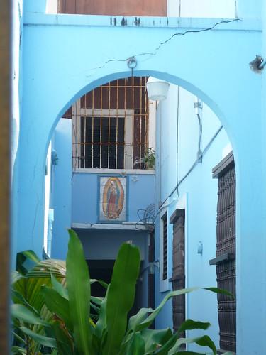 A blue gateway in Old San Juan