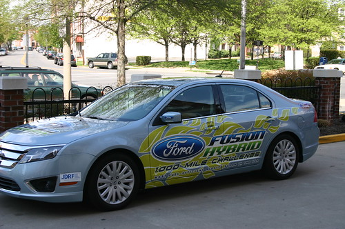 An exact replica of the 2010 Ford Fusion Hybrid involved in the 1000 Mile Challenge
