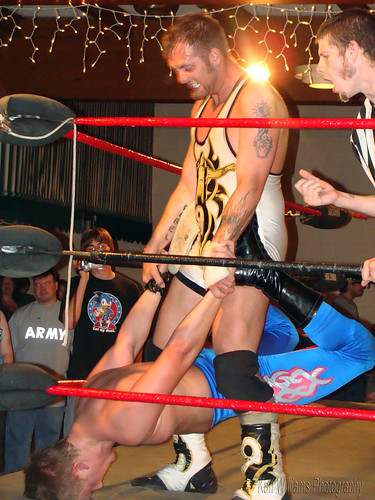 Wyatt and Karrington brutalized each other in the nearly 40 minute battle for the coveted title. Photo by Kari Williams