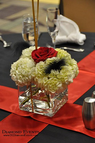 Hydrangea centerpiece by Diamond Events
