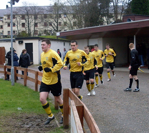 The Fort William team come out for the second half.