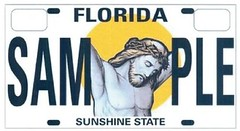 cruxified Jesus licence plate