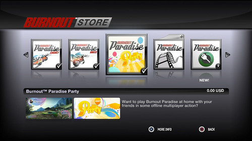 Burnout Paradise In-Game Store