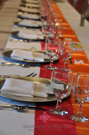 Head Table of the German Club set for a wedding